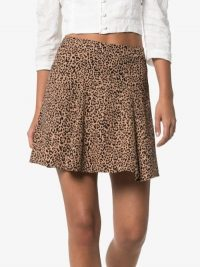 Reformation Flounce Leopard Print Mini Skirt ~ brown animal prints