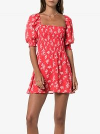 Reformation Red Elee Mini Floral Print Dress | smocked square neck dresses
