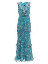 SALONI Rita blue floral-print silk crepe de Chine maxi dress ~ summer garden party clothing