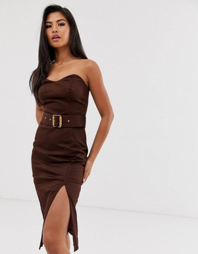 River Island pencil dress with bamboo belt in chocolate – brown strapless party dresses