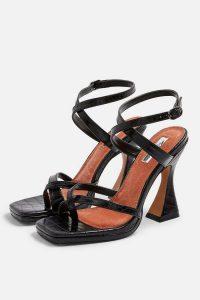 TOPSHOP ROCK Sculpt Heel Sandals in Black