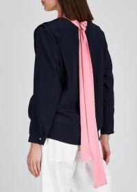 ROKSANDA Aulna navy silk blouse ~ pink tie detail
