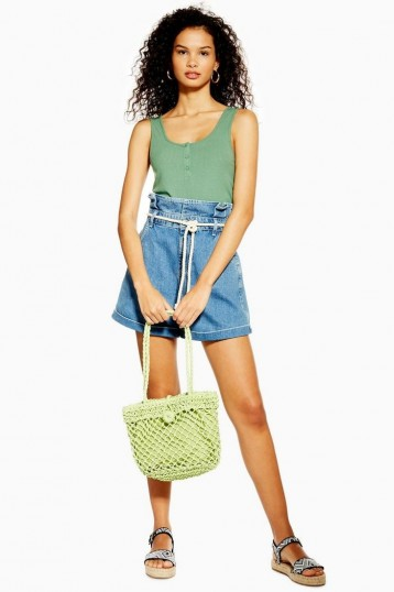 Topshop Rope Belt Paper Bag Denim Shorts | casual summer fashion