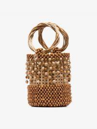 Rosantica Beige Cora Beaded Wicker Bucket Bag – small light-brown ring top handle handbag