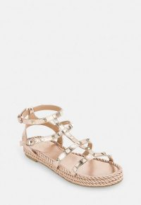 Missguided rose gold espadrille stud gladiator sandals | strappy metallic flats