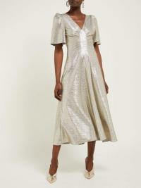 GOAT Rosemary foil-jersey tea dress in pale-gold ~ vintage style metallic dresses