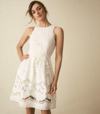 REISS ROSINA BRODERIE FIT AND FLARE DRESS WHITE ~ feminine summer skater
