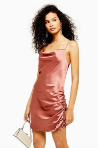 Topshop Ruched Mini Slip Dress Rose