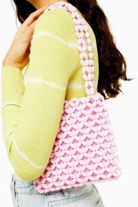 TOPSHOP SAGA Pink Beaded Tote Bag
