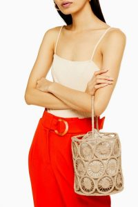 Topshop SAIL Handmade Straw Bucket Bag in Natural | cylindrical bags