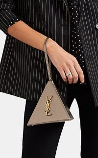 SAINT LAURENT Monogram Mini Leather Pyramid Bag ~ small dark metallic-gold bags ~ luxe accessory