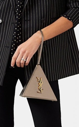 SAINT LAURENT Monogram Mini Leather Pyramid Bag ~ small dark metallic-gold bags ~ luxe accessory - flipped
