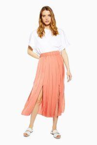 Topshop Satin Pleated Midi Skirt Coral | front slit skirts