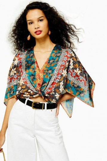 Topshop Scarf Print Halter Neck Top With Tie | floaty boho blouse - flipped