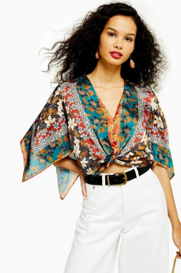 Topshop Scarf Print Halter Neck Top With Tie | floaty boho blouse