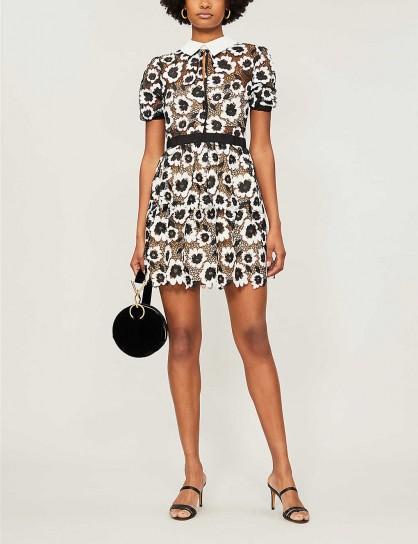 SELF-PORTRAIT Collared floral lace mini dress ivory / black