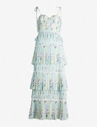 SELF-PORTRAIT Tiered floral-lace chiffon midi dress mint