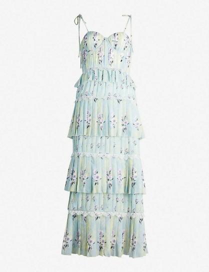 SELF-PORTRAIT Tiered floral-lace chiffon midi dress mint