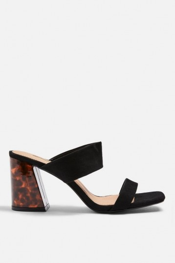 Topshop SELINA Black Tortoiseshell Heel Sandals | block heeled summer mules