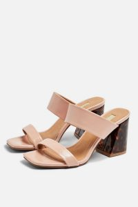 Topshop SELINA Tortoiseshell Heel Sandals in Nude | pale-pink summer shoes