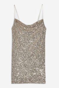 TOPSHOP Sequin Cowl Mini Dress in Silver – glittering thin strap dresses