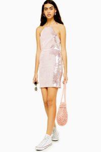 TOPSHOP Sequin Halter Neck Mini Dress in Pale Pink – shimmering dresses