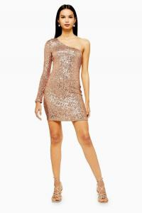 Topshop Sequin One Sleeve Mini Dress in Rose Gold | shimmering party dresses