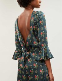 SEREN Gee ruffle silk-satin jumpsuit ~ open tie back jumpsuits