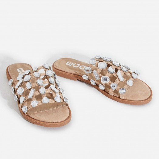 EGO Shanti Crystal Studded Detail Slider In Nude Faux Suede | jewelled slides