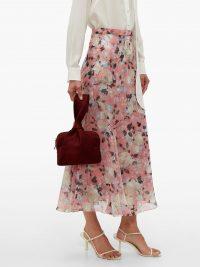 ERDEM Shea Apsley silk skirt in pink ~ floaty floral skirts