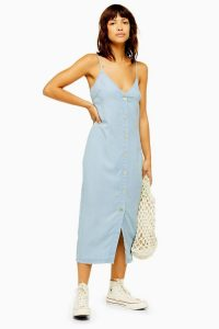Topshop Shell Button Slip Midi Dress in Bleach Stone | front buttoned cami dresses