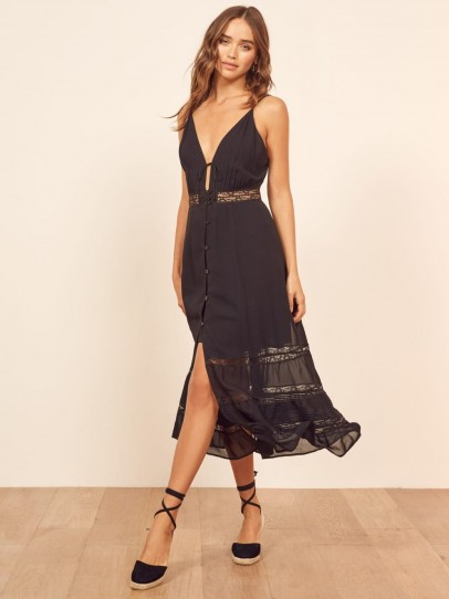 Reformation Shelley Dress in Black | plunge front summer dresses