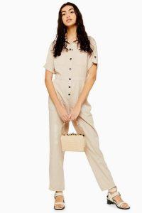 TOPSHOP Short Sleeve Boiler Suit Ecru.
