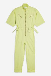 TOPSHOP Lime Side Tab Utility Boilersuit – green boilersuits