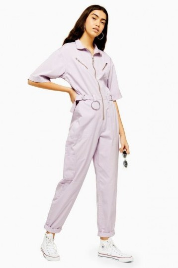 TOPSHOP Lilac Side Tab Utility Boilersuit – utilitarian all in one - flipped