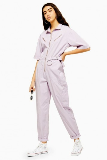 TOPSHOP Lilac Side Tab Utility Boilersuit – utilitarian all in one