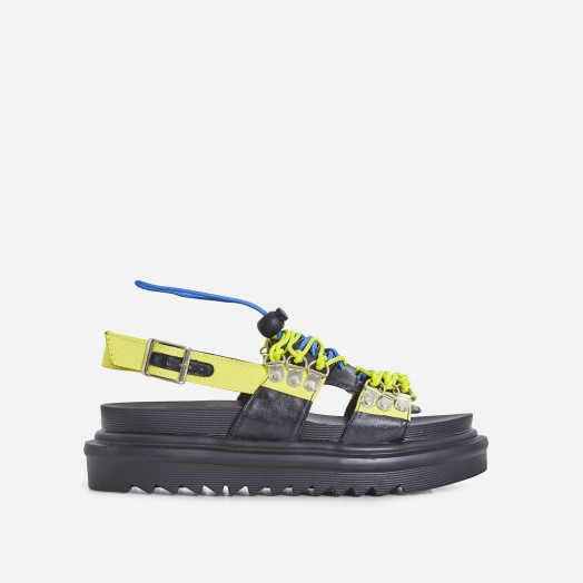 EGO Sierra Lace Up Sandal In Yellow | casual summer flats