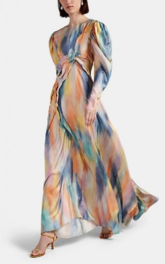 SIES MARJAN Virginia Tie-Dyed Silk Dress ~ long luxe dresses ~ gowns with swish
