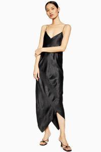 TOPSHOP Silk Spiral Dress in Black By Boutique – long bias slip dresses