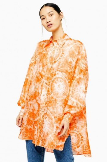 TOPSHOP Silk Tie Dye Shirt By Boutique Orange / oversized summer shirts