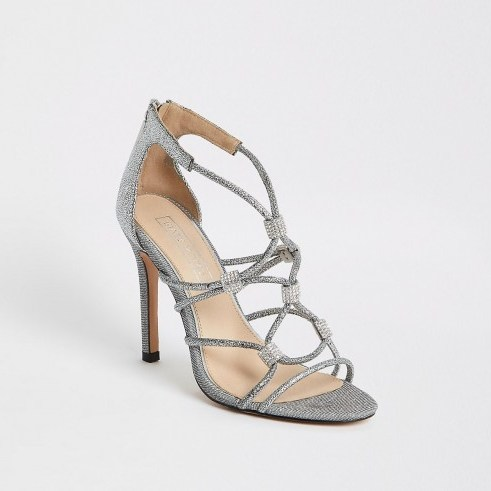 River Island Silver diamante cage heeled sandals – strappy metallic heels - flipped