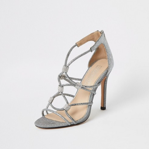 River Island Silver diamante cage heeled sandals – strappy metallic heels