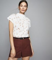 REISS SOFIA CAPPED SLEEVE LACE TOP WHITE ~ feminine summer tops