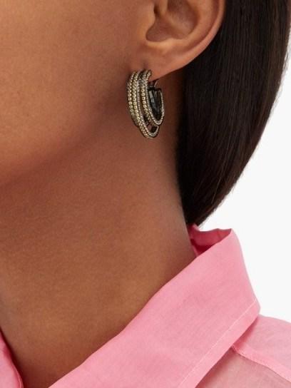 LYNN BAN Sonic topaz & rhodium-plated hoop earrings ~ yellow stone multi hoops - flipped