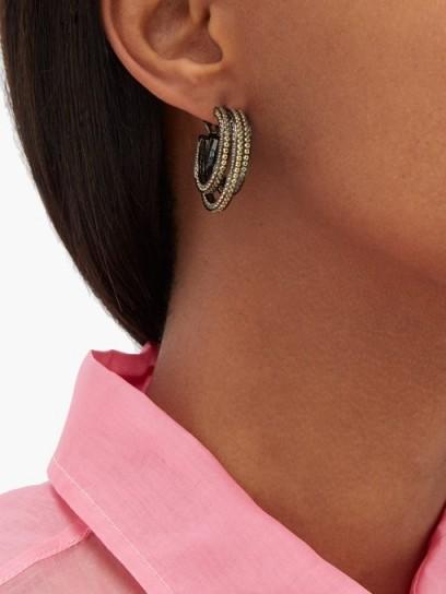 LYNN BAN Sonic topaz & rhodium-plated hoop earrings ~ yellow stone multi hoops