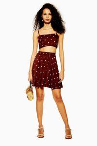 TOPSHOP Spot Print Mini Skirt in Chocolate