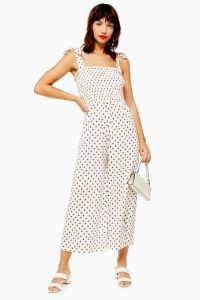Topshop Spot Shirred Jumpsuit in Cream | floaty cropped leg summer jumpsuits