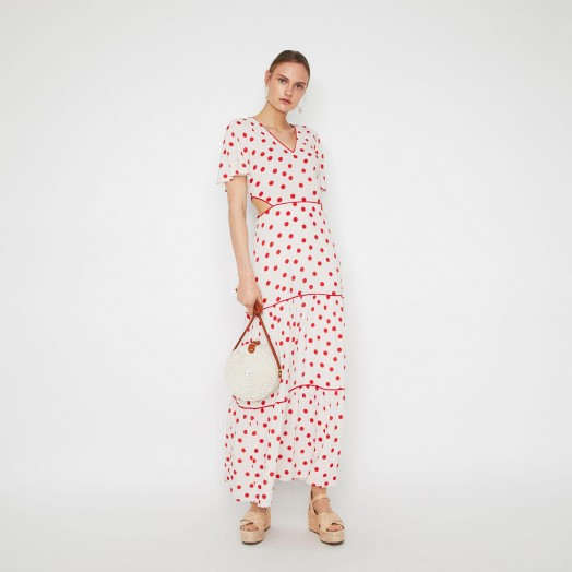 WAREHOUSE SPOT TIERED MAXI DRESS in RED PATTERN / spot print cut-out dresses