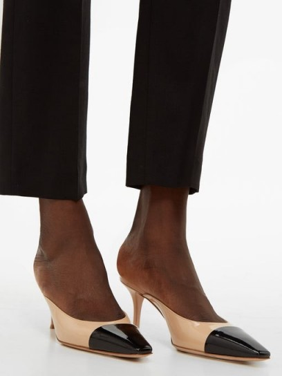 GIANVITO ROSSI Square-toe 70 beige and black patent-leather mules ~ chic two-tone shoes