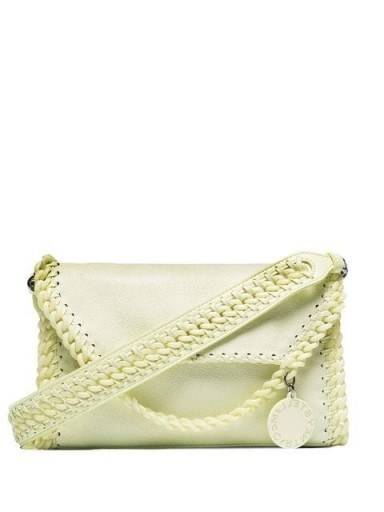 STELLA MCCARTNEY Light Yellow Mini Falabella shoulder bag ~ luxe faux leather bags - flipped